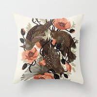 death Throw Pillows featuring Spangled & Plumed by Teagan White