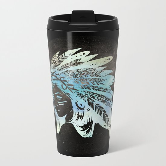 Moon Child Goddess Bohemian Girl Metal Travel Mug