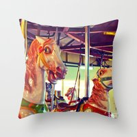 racing Throw Pillows featuring Still racing by Vorona Photography