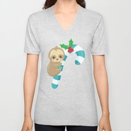 Christmas Sloth, Sloth With Candy Cane, Mistletoe Unisex V-Neck