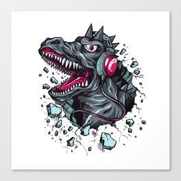 Arsenic Druck Dino with Headphones Canvas Print