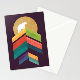 Lingering mountain with golden moon Stationery Cards