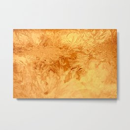 Abstraction Ice Background Pattern Gold Metal Print