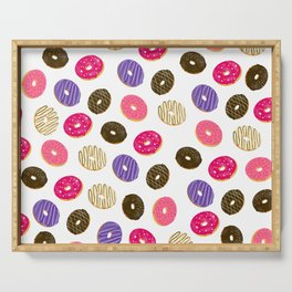 Modern cute pastel hand drawn donuts pattern food illustration Serving Tray