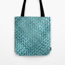 Cute Elegant Teal Turquoise Basket Weave Pattern Tote Bag