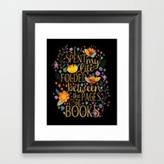 Folded Between the Pages of Books - Floral Black Framed Art Print