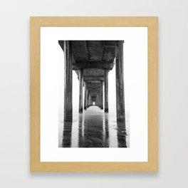 Ocean Pier Black and White Framed Art Print