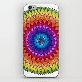Rainbow Psychedelic Dharma Dahlia Mandala Colored Pencil Illustration by Imaginarium Creative Studio iPhone Skin