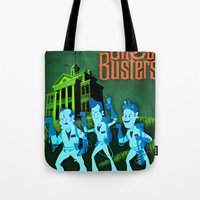 ghostbusters Tote Bags featuring Hitchhiking Ghostbusters by Sam Carter AKA Cartarsauce