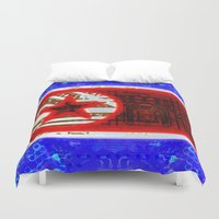 korea Duvet Covers featuring circuit board North Korea (flag) by seb mcnulty