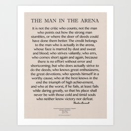 The Man In The Arena-Speech by Roosevelt-Motivational Poster Art Print