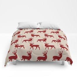 Mid Century Modern Deer Pattern Dusty Maroon and Beige 3 Comforters