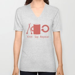 Knitting and Coffee Unisex V-Neck