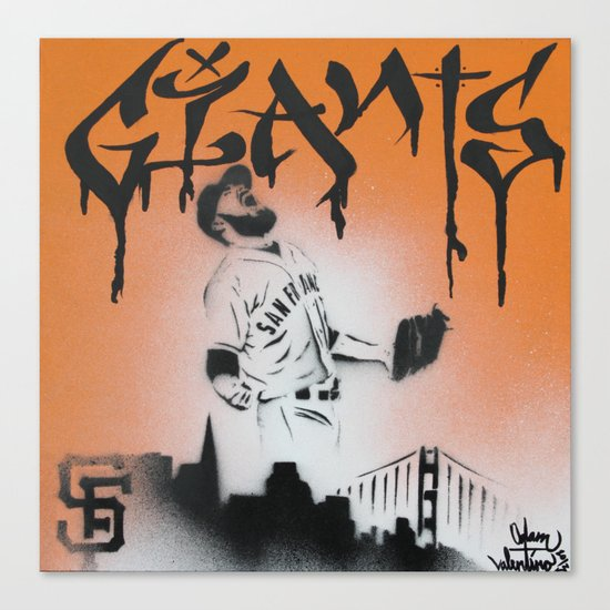 SF Giants Sergio Romo stencil painting print Canvas Print