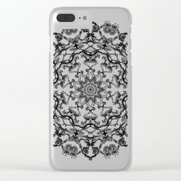Mandala Project 214 | Black and White Lace on White Clear iPhone Case