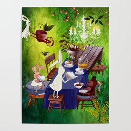 Bunny Tea Party in forest Poster