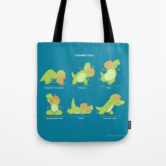 T-Rex Tries Yoga Tote Bag
