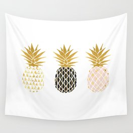 fun pineapple design gold Wall Tapestry