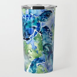 Sea Turtle Turquoise Blue Beach Underwater Scene Green Blue design Travel Mug