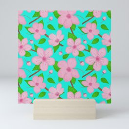 Cherry blossoms pattern - aqua Mini Art Print