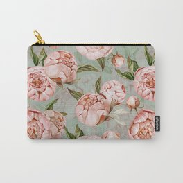 Peach Peonies Watercolor Pattern on Teal Sepia  Carry-All Pouch