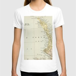 Vintage Map of New Zealand T-shirt