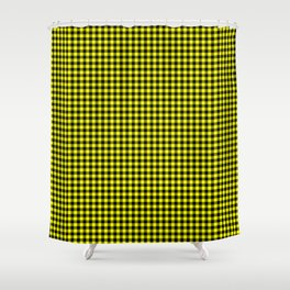 Mini Black and Bright Yellow Cowboy Buffalo Check Shower Curtain