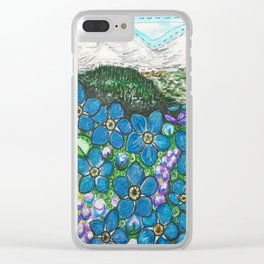 Mountains and Forget-Me-Nots Clear iPhone Case