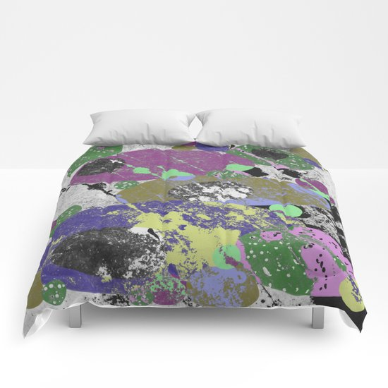 Stack Em Up! - Abstract, textured, pastel coloured artwork Comforters