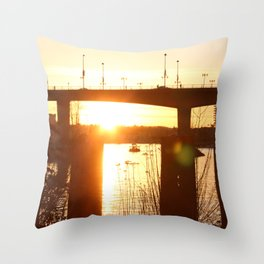Sunset over the Cambie Bridge Throw Pillow
