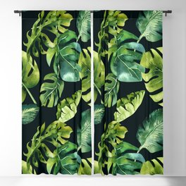 Watercolor Botanical Green Monstera Lush Tropical Palm Leaves Pattern on Solid Black Blackout Curtain
