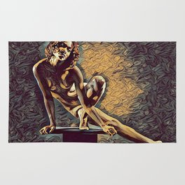 0953s-ZAC Dancer on Pedestal Graceful Young Black Woman Rendered in the Style of Antonio Bravo Rug