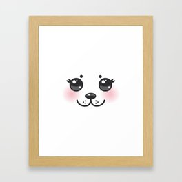 Kawaii funny albino animal white muzzle with pink cheeks and big black eyes Framed Art Print