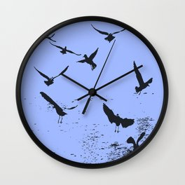 Silhouette Of A Flock Of Seagulls Over Water Vector Wall Clock