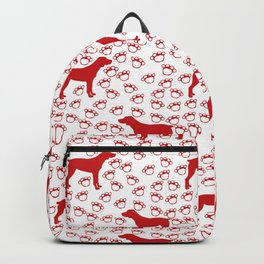 Big Red Dog and Paw Prints Backpack