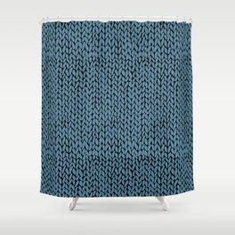Hand Knit Niagra Blue Shower Curtain
