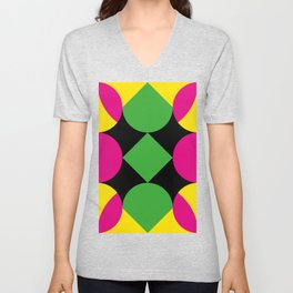 A green square being touched by two half-circles, surrounded by a Yellow Veil. Unisex V-Neck