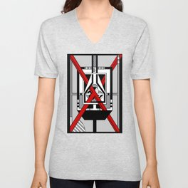 Red X  - Abstract Geometric Non-Figurative Art Unisex V-Neck