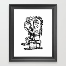 Stool Lady - Black and White Art, Art Prints, Drawings - Titled: Woman Sitting on A Stool Framed Art Print