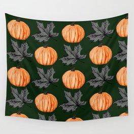 Pumpkin Deep Green Autumn Leaf Wall Tapestry