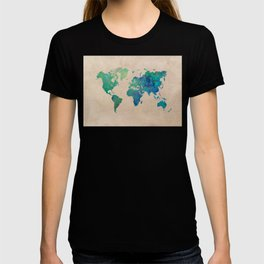 world map 95 green #worldmap #map T-shirt