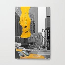 NYC Yellow Cabs - Billboard The City- Brush Stroke Metal Print