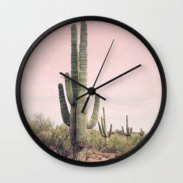 Blush Sky Cactus Wall Clock
