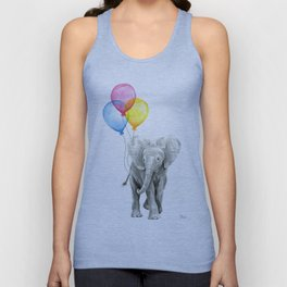Baby Elephant with Balloons Nursery Animals Prints Whimsical Animal Unisex Tank Top