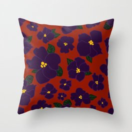 African Violets on red Throw Pillow