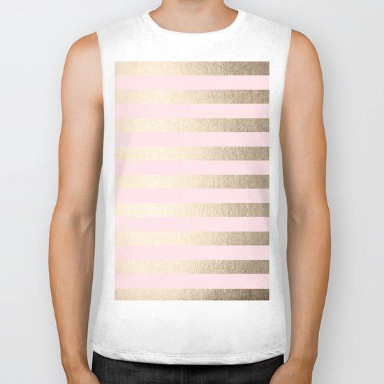 Stripes White Gold Sands on Pink Flamingo Biker Tank