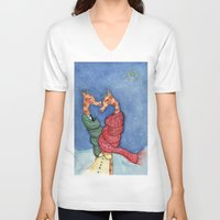 giraffes V-neck T-shirts featuring giraffes by knutsie