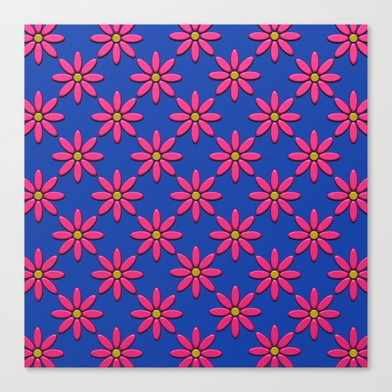 Pink Flowers on Blue Field Canvas Print