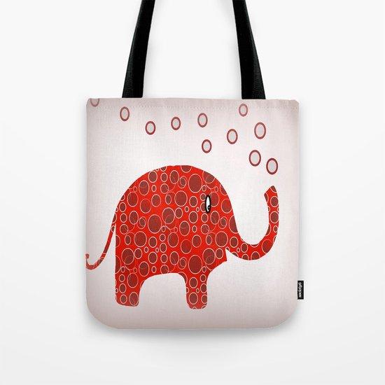 Red Circles Elephant Tote Bag