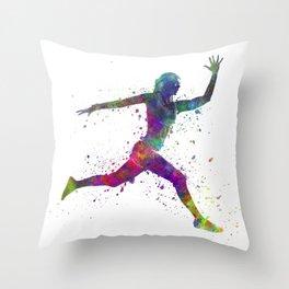 Woman runner running jumping Throw Pillow